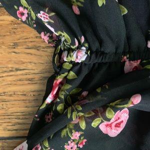 Love Ari Dresses - Black and Pink Floral Long Sleeve Dress